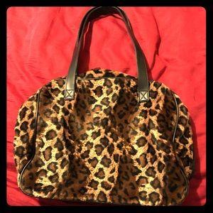Cheetah print faux fur fuzzy bag/purse